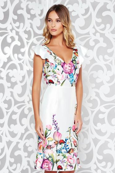Fehér StarShinerS ruha elegáns szatén anyagból v-dekoltázzsal fodrok a ruha alján