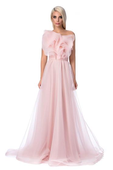 Rózsaszínű Ana Radu alkalmi deréktól bővülő szabás ruha fodrok a mellrészen övvel ellátva