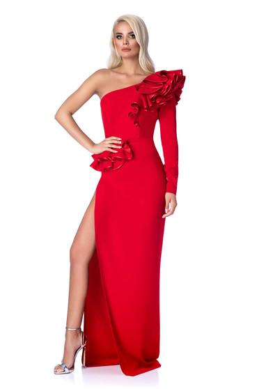 Piros Ana Radu alkalmi szűk szabású ruha fodros rugalmas és finom anyag