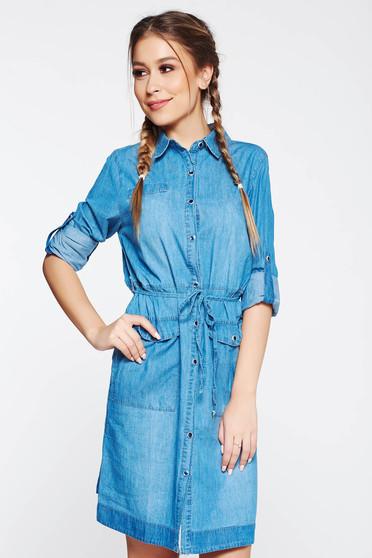 Kék SunShine ruha casual egyenes szabás farmer arnyagból derékban zsinórral köthető meg zsebes