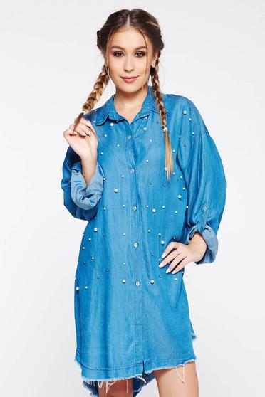 Kék SunShine ruha casual bő szabású pamutból készült gyöngy díszítéssel