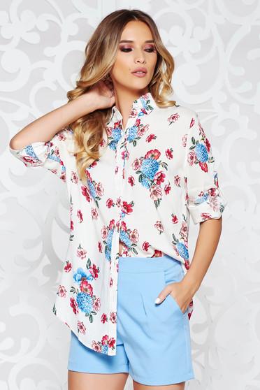 Fehér SunShine női ing irodai bő szabású enyhén áttetsző anyag virágmintás díszítéssel