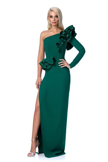 Zöld Ana Radu alkalmi szűk szabás ruha fodros rugalmas és finom anyag