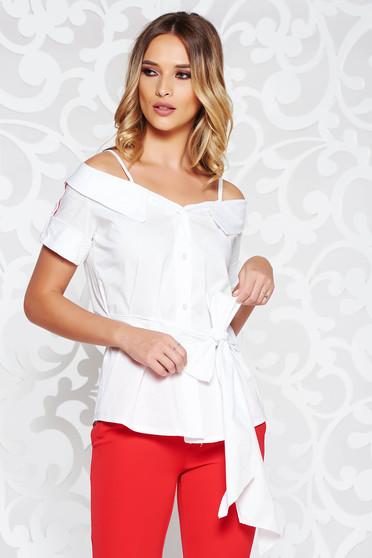 Fehér SunShine női blúz casual kivágott vállrésszel övvel ellátva