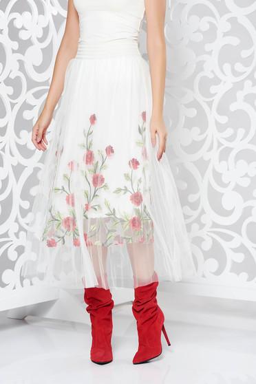 Fehér SunShine szoknya casual hímzett tüll belső béléssel magas derekú