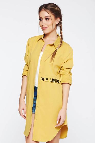 Mustar SunShine női ing casual bő szabású hímzett asszimmetrikus szabással hosszú ujjak