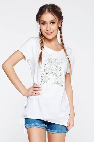 Fehér SunShine póló casual rugalmas pamut bő szabás gyöngy díszítéssel strassz köves díszítés