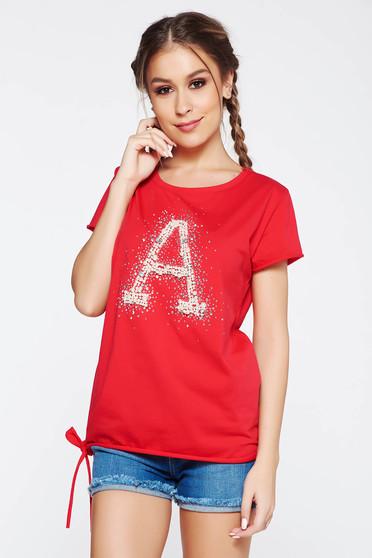 Piros SunShine póló casual rugalmas pamut bő szabás gyöngy díszítéssel strassz köves díszítés