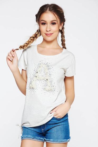 Szürke SunShine póló casual rugalmas pamut bő szabás gyöngy díszítéssel strassz köves díszítés