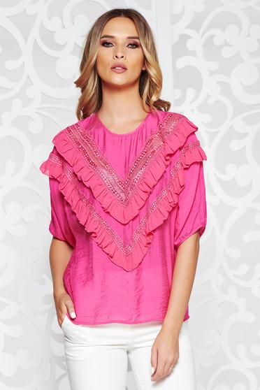 Pink SunShine női blúz casual bő szabású lenge anyagból fodrok a mellrészen bő ujjú