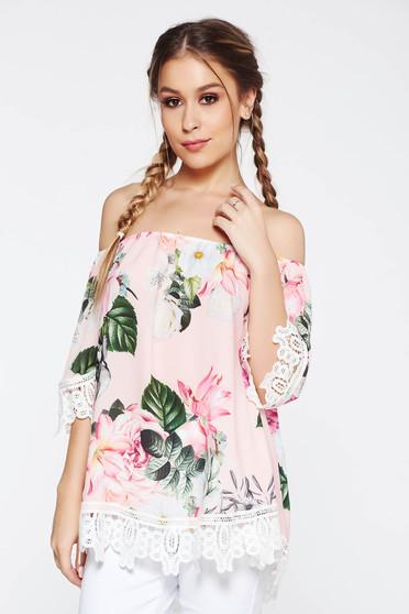 Rózsaszínű SunShine női blúz casual bő szabású váll nélküli kötött csipke