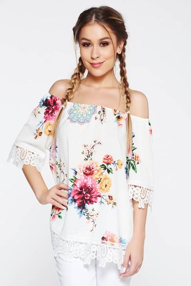 Fehér SunShine női blúz casual bő szabású váll nélküli kötött csipke