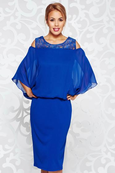 Kék ruha alkalmi ceruza rugalmas anyag fátyol csipke díszítéssel