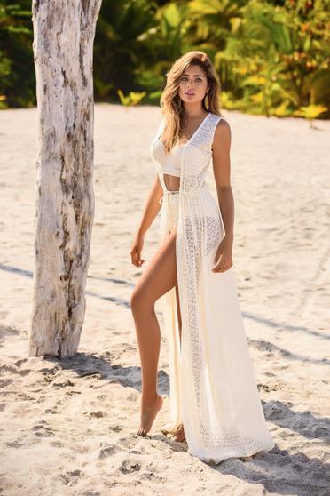 Bézs Cosita Linda ruha strandi kötött csipke derékban zsinórral köthető meg bő szabású