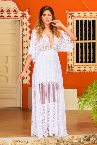 Fehér Cosita Linda ruha strandi bő szabású csipkés anyag bő ujjú v-dekoltázzsal