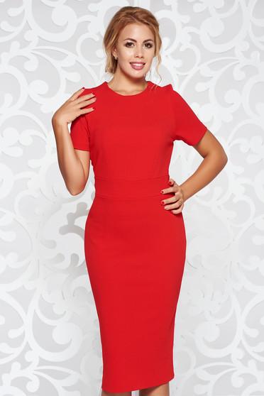 Piros StarShinerS ruha irodai rugalmas anyag szűk szabás midi