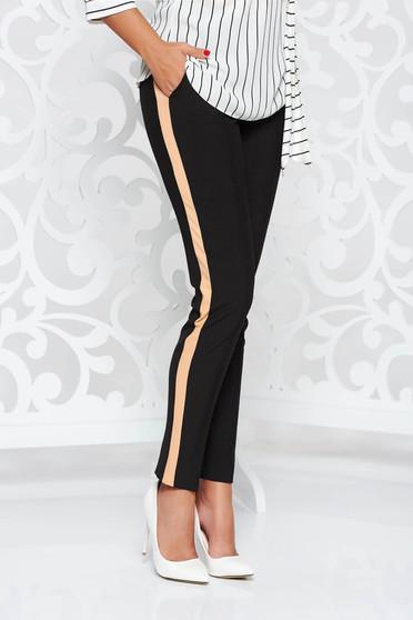 Fekete StarShinerS nadrág irodai kónikus enyhén rugalmas szövet zsebes normál derekú