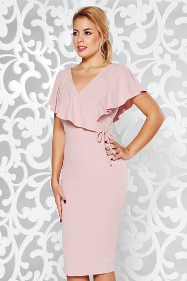 Rózsaszínű StarShinerS ruha elegáns ceruza rugalmas anyag v-dekoltázzsal