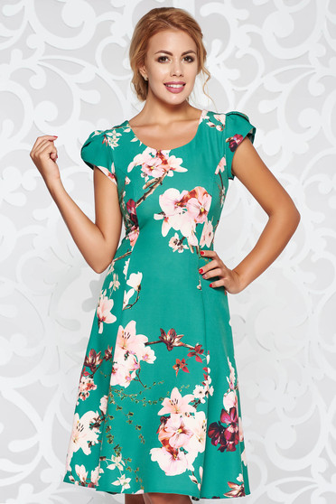 Zöld ruha elegáns harang enyhén rugalmas szövet virágmintás díszítéssel