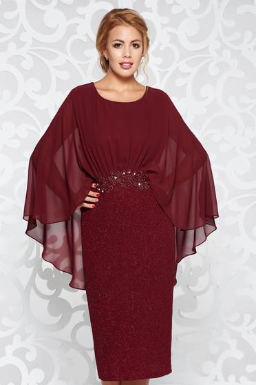 Burgundy ruha elegáns ceruza rugalmas anyag belső béléssel csipke díszítéssel gyöngyös díszítés