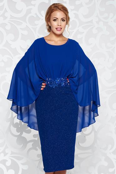 Kék ruha elegáns ceruza rugalmas anyag belső béléssel csipke díszítéssel gyöngyös díszítés