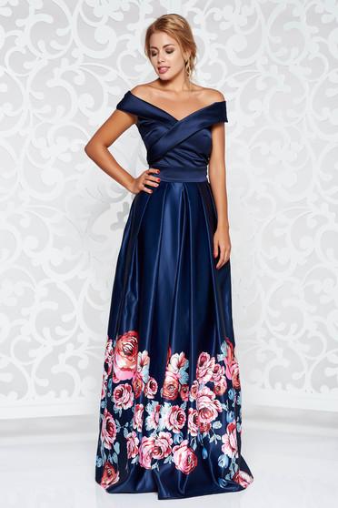 Kék Artista alkalmi ruha szatén anyagból virágmintás díszítéssel harang váll nélküli