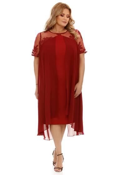 Burgundy ruha alkalmi fátyol anyag belső béléssel bő szabású csipkés anyag