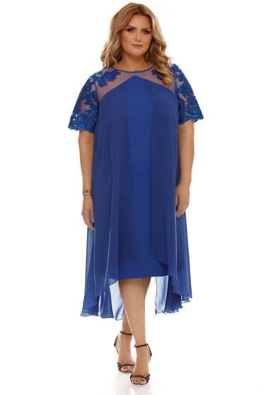 Kék ruha alkalmi fátyol anyag belső béléssel bő szabású csipkés anyag