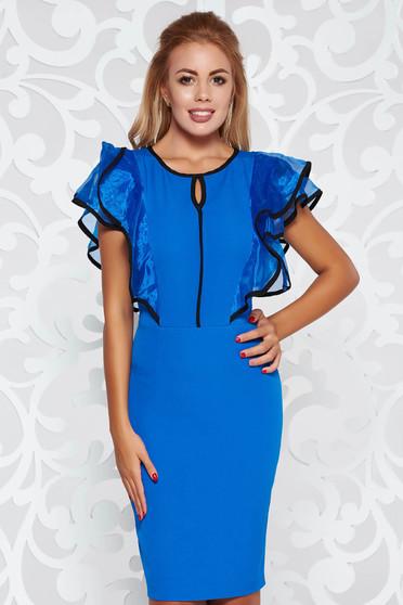 Kék ruha elegáns ceruza enyhén rugalmas anyag fodros 096836dc28