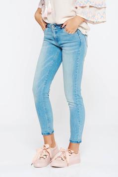 Kék farmer casual skinny farmer enyhén elasztikus pamut normál derekú zsebes