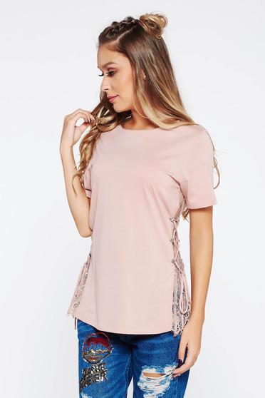 Rózsaszínű póló casual csipke díszítéssel pamutból készült bő szabású