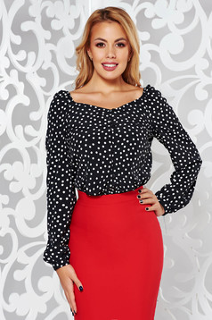 Fekete StarShinerS irodai bő szabású női ing hosszú ujjú vékony anyag pöttyökkel