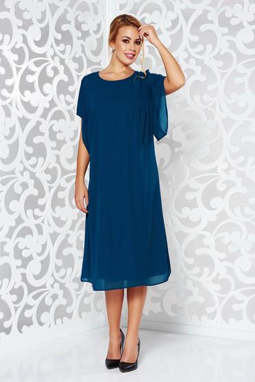 Sötétzöld ruha elegáns bő szabású fátyol anyag belső béléssel bő ujjú