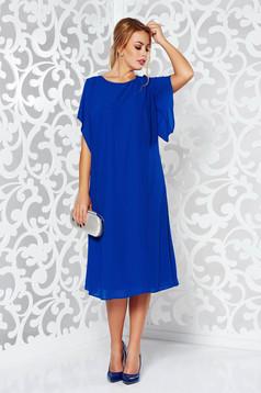 Kék elegáns bő szabású ruha fátyol anyag belső béléssel bő ujjak