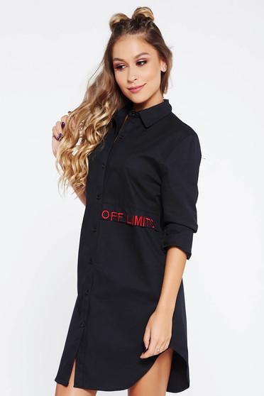 Fekete SunShine női ing casual bő szabású hímzett asszimmetrikus szabással hosszú ujjak
