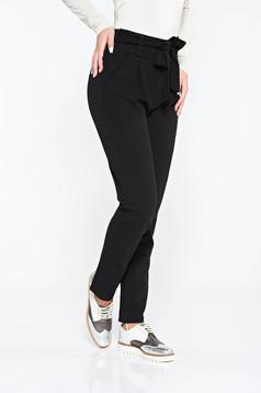 Fekete SunShine nadrág casual enyhén rugalmas anyag magas derekú zsebes