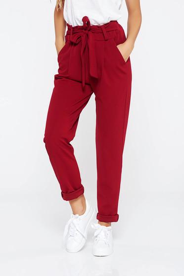 Burgundy SunShine nadrág casual enyhén rugalmas anyag magas derekú zsebes