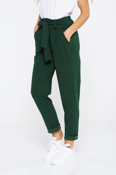 Sötétzöld SunShine nadrág casual enyhén rugalmas anyag magas derekú zsebes