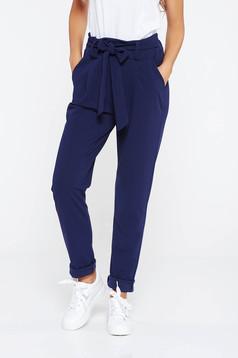 Sötétkék SunShine nadrág casual enyhén rugalmas anyag magas derekú zsebes