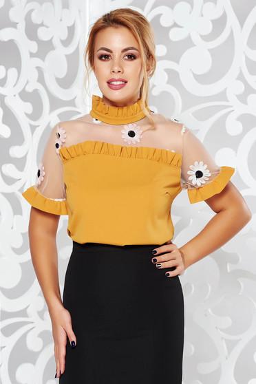Mustar SunShine bő szabás elegáns hímzett női blúz fodrozott ujjakkal