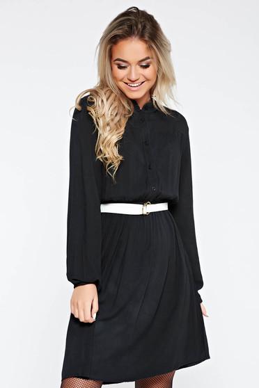 Fekete SunShine ruha casual derékban rugalmas harang lenge anyagból