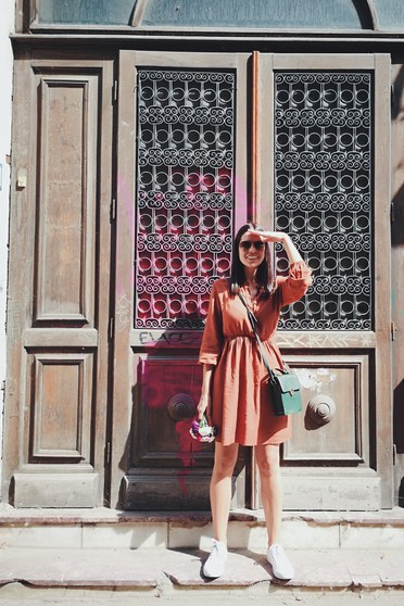 Barna SunShine ruha casual derékban rugalmas harang lenge anyagból