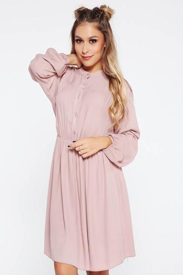 Rózsaszínű SunShine ruha casual derékban rugalmas harang lenge anyagból