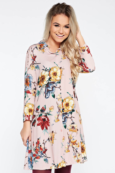 Rózsaszínű SunShine ruha casual bő szabású lenge anyagból virágmintás díszítéssel