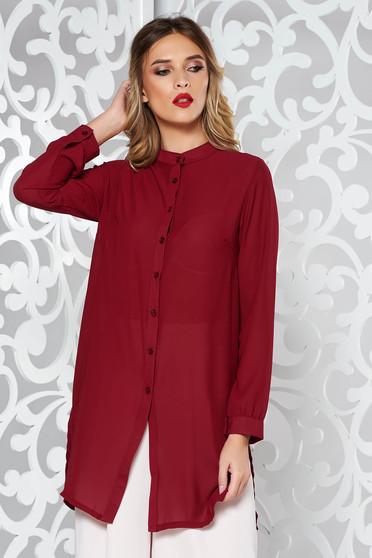 Burgundy női ing elegáns bő szabású enyhén áttetsző anyag