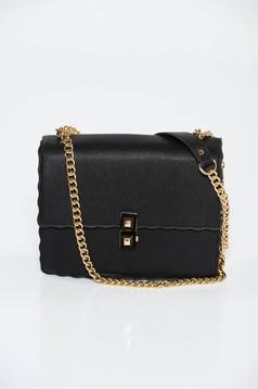 Fekete táska casual műbőr hosszú lánc típusú pánt valamint rövid