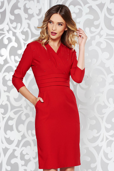 80d79421db Piros ruha elegáns ceruza enyhén elasztikus pamut gyöngyös díszítés  v-dekoltázzsal