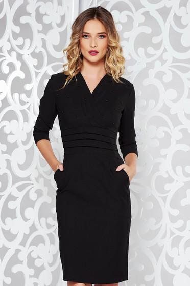 Fekete ruha elegáns ceruza enyhén elasztikus pamut gyöngyös díszítés  v-dekoltázzsal d8733c623d