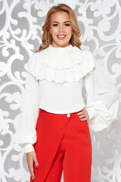Fehér elegáns bő szabású női ing fodros