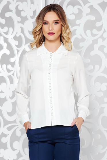 Fehér irodai bő szabású női ing hosszú ujjakkal lenge anyagból